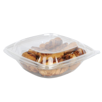 Square transparent PET salad bowl with lid  1000ml 190x190mm H75mm