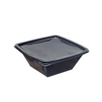 Square black PET salad bowl  1000ml 195x195mm H70mm