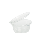 Clear round PET plastic portion cup with hinged lid 30ml Ø63mm  H18mm