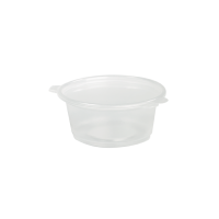Clear round PP plastic portion cup with hinged lid 50ml Ø64mm  H38mm