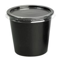 Black round PP plastic portion cup 150ml Ø70mm  H64mm
