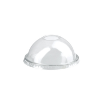 Clear PET plastic dome lid with straw slot  Ø77mm  H37mm