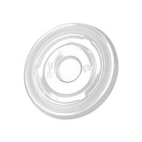 Clear PET plastic flat lid with straw slot  Ø78mm  H8mm