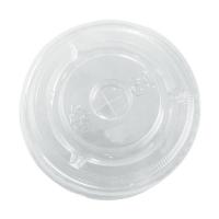 Clear PET plastic flat lid with straw slot  Ø84mm