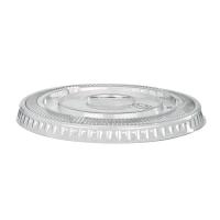 Clear PET plastic flat lid with straw slot  Ø77mm  H8mm