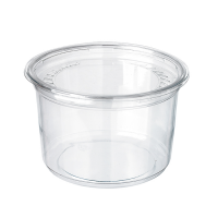 Round transparent PET Deli container with flat lid 700ml Ø117mm  H107mm
