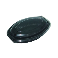 Black oval PP plastic container 500ml 207x143mm H37mm