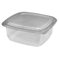 Square clear PET box with hinged lid 1000ml 172x167mm H75mm