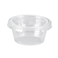 Clear round PP plastic portion cup with flat PET lid 75ml Ø62mm  H45mm