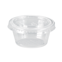 Clear round PET plastic portion cup with flat lid 60ml Ø62mm  H32mm
