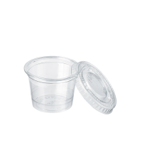 Clear round PET plastic portion cup with flat lid 40ml Ø45mm  H40mm