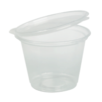 Clear round PP plastic portion cup with hinged lid 50ml Ø60mm  H33mm