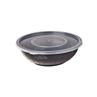 Round black PP box with transparent lid 750ml Ø173mm  H55mm