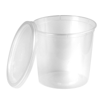 Clear round PP plastic box with lid 870ml Ø120mm  H125mm
