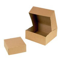 Kraft/brown cardboard pastry box  140x140mm H60mm