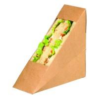 Kraft cardboard simple sandwich wedge with PLA window  55x120mm H120mm