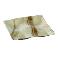 Square palm leaf plate with four compartments  205x205mm H23mm