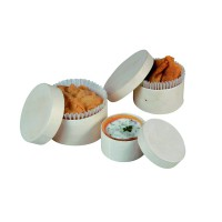 Set of 3 round wooden boxes with lid (diameter 4,8  5,8 et 6,5 cm)