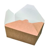 """""""Nature"""" biodegradable greaseproof kraft meal box 2300ml 215x160mm H90mm"""