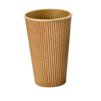 """Rippley"" kraft/brown rippled wall coffee cup 480ml Ø90mm  H135mm"