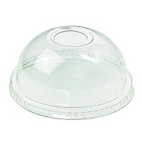 Clear PET plastic dome lid with hole  Ø96mm  H40mm