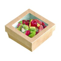 """Brown square """"Kray"""" cardboard box with PLA window lid 500ml 135x135mm H50mm"""