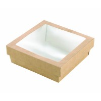 """Brown square """"Kray"""" cardboard box with PLA window lid 700ml 155x155mm H50mm"""
