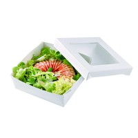 """White square """"Kray"""" cardboard box with PLA window lid 500ml 135x135mm H50mm"""