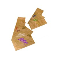 Kraft/brown paper bread bag with green design  170x70mm H360mm