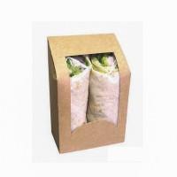 Kraft cardboard wrap box with PLA window  95x54mm H152mm