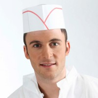 White paper flat cap with red stripe  275x80mm