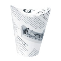 White newsprint closeable perforated snack cup 350ml Ø86mm  H139mm