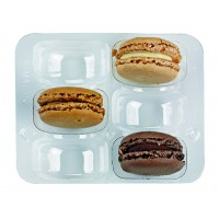 Clear PET rectangular case insert for 6 macarons (2x3)  118x100mm H23mm