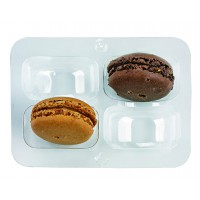 Clear PET rectangular case insert for 4 macarons (2x2)  108x74mm H23mm