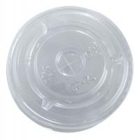 Clear PET plastic flat lid with straw slot  Ø74mm