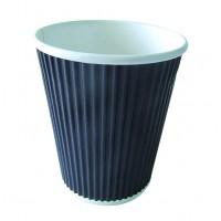 """Rippley"" black rippled wall coffee cup 230ml Ø80mm  H92mm"