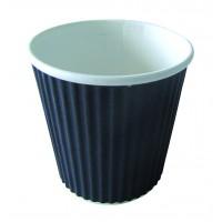 """Rippley"" black rippled wall coffee cup 120ml Ø62mm  H60mm"