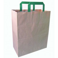 Kraft/brown recycled paper carrier bag with green handles  260x170mm H280mm