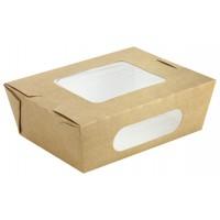 Kraft salad box with double window 850ml 155x118mm H53mm