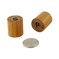 Bamboo mini salt and pepper shakers  18x18mm H40mm