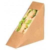 Kraft cardboard single sandwich wedge with window  50x123mm H123mm